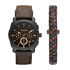 Fossil - Mens Chronograph watch gift set with leather wrist wrap fs5251set