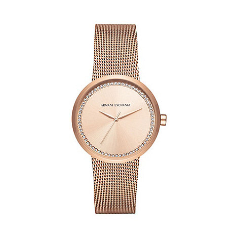 Armani Exchange Ladies rose gold watch ax4503 | Debenhams