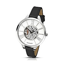 Sekonda - Ladies black skeleton effect dial strap watch 2311.28