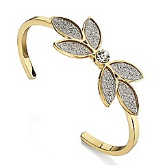 Fiorelli - Silver glitter and gold flower bangle