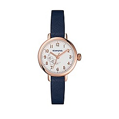 Kahuna - Ladies saffiano effect blue skinny strap with rose gold case