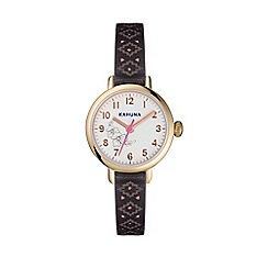 Kahuna - Ladies brown and coral cut through skinny strap watch