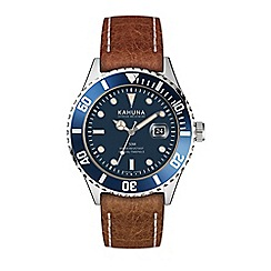 Kahuna - Men's brown strap watch with blue dial and bezel