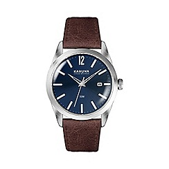 Kahuna - Men's blue dial watch with brown leather strap