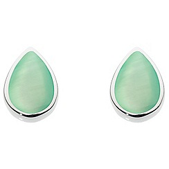 Dew - Sterling Silver and Green Mother of Pearl Pear Stud Earrings