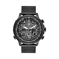 Citizen - Men's black ion plated steel radio controlled chronograph bracelet watch jy8037-50e