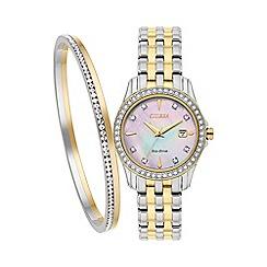 Citizen - Ladies two tone bracelet watch & bangle set ew1908-59d set