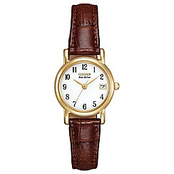 Citizen - Ladies gold tone brown strap watch ew1272-01a