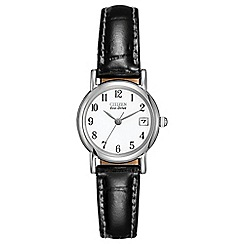 Citizen - Ladies silver black strap watch ew1270-06a