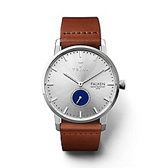 Triwa - Unisex silver and blue 3-hand watch with leather strap