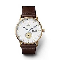 Triwa - Unisex white 3-hand watch with leather strap
