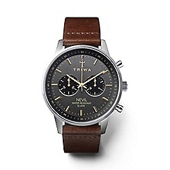Triwa - Unisex dark brown chronograph watch with leather strap