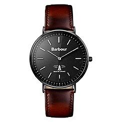 Barbour - Gents brown quartz strap watch