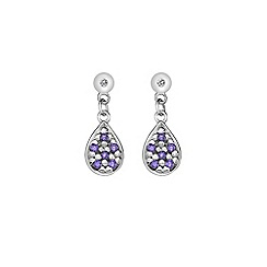 Hot Diamonds - Silver swing teardrops amethyst earrings