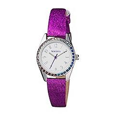 Tikkers - Stone set bezel purple glitter PU strap watch