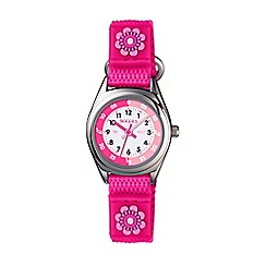 Tikkers - Pink flower velcro strap time teacher watch