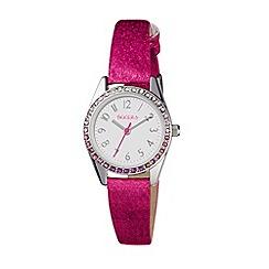 Tikkers - Stone set bezel pink glitter strap watch