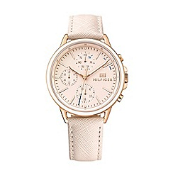 Tommy Hilfiger - Ladies rose gold-toned multi-function leather strap watch