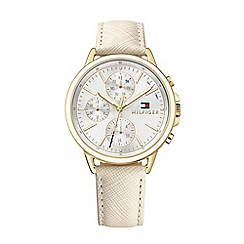 Tommy Hilfiger - Ladies gold-toned multi-function leather strap watch