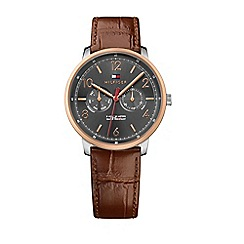 Tommy Hilfiger - Men's sub-dial brown multi-eye dial leather strap watch