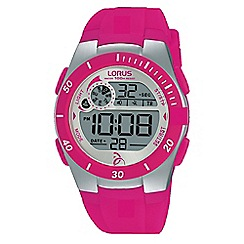 Lorus - Unisex pink silicone strap digital chronograph watch