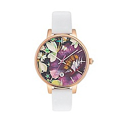 Ted Baker - Ladies white leather strap watch