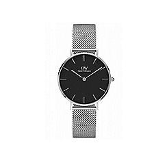Daniel Wellington - Classic Petite Sterling with black face and silver mesh strap and case watch