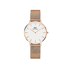 Daniel Wellington - Classic Petite Melrose with white face and rose gold mesh strap and case watch