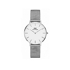 Daniel Wellington - Classic Petite Sterling with white face and silver mesh strap and case watch
