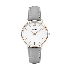 Cluse - Ladies' rose gold and grey 'Minuit' leather strap watch