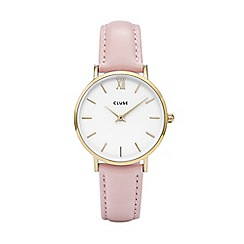 Cluse - Ladies' gold and pink 'Minuit' leather strap watch