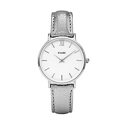Cluse - Ladies' silver metallic 'Minuit' leather strap watch