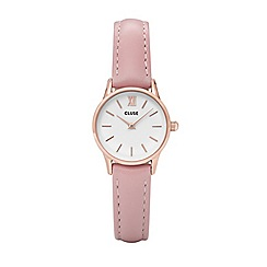 Cluse - Ladies rose gold and pink 'La Vedette' leather strap watch