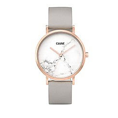 Cluse - Ladies' rose gold and grey 'la roche' leather strap watch