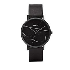 Cluse - Ladies' full black 'la roche' leather strap watch