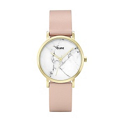 Cluse - Ladies' gold and pink 'la roche petite' leather strap watch