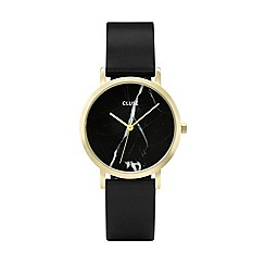 Cluse - Ladies gold and black 'La Roche Petite' leather strap watch