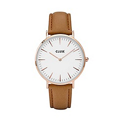 Cluse - Ladies' rose gold and tan 'la boheme' leather strap watch