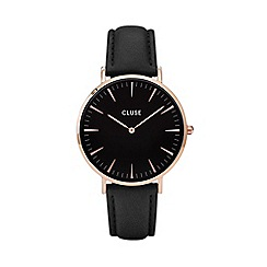 Cluse - Ladies' rose gold and black 'la boheme' leather strap watch