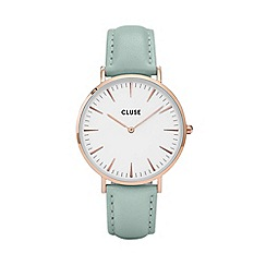 Cluse - Ladies' rose gold and mint 'la boheme' leather strap watch