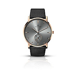 Accurist - Men's rose gold plated leather strap watch