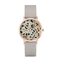 Cluse - Ladies' rose gold and grey 'la roche petite' leather strap watch