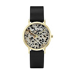 Cluse - Ladies' rose gold and black  'la roche petite' leather strap watch