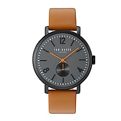 Ted Baker - Gents light brown leather strap watch