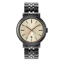 Ted Baker - Gents gunmetal stainless steel bracelet watch