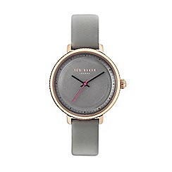 Ted Baker - Ladies grey leather strap watch