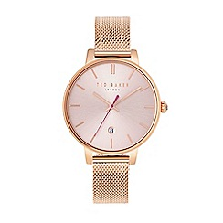 Ted Baker - Ladies rose gold stainless steel mesh bracelet watch