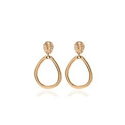 Anne Klein - Gold tone drop hoop clipped earrings