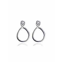 Anne Klein - Silver tone drop hoop clipped-on earrings