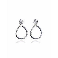 Anne Klein - Silver tone drop hoop clipped-on earrings